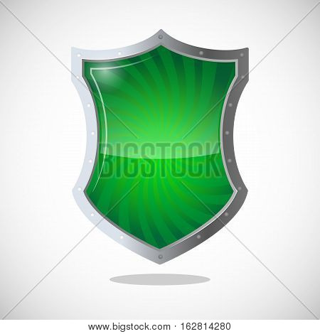 Armour shield symbol of protection, defence, and security. Green shield with metallic frame. Antivirus concept protective logotype in chrome button. Safeguard policy defence sign vector illustration