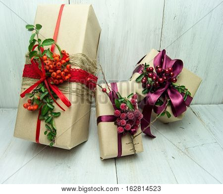 Gifts On Wood Background