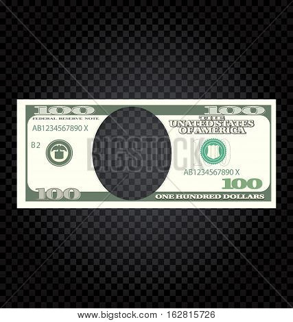 Illustration One Hundred Dollars Banknote on a Checker Background - Vector