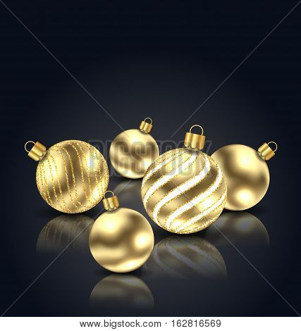 Illustration Christmas Golden Balls with Reflection on Black Background with Copy Space for Your Text - Vector