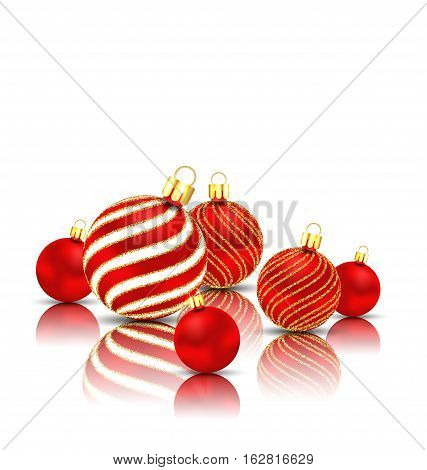 Illustration Christmas Glitter Balls with Reflection on White Background - Vector