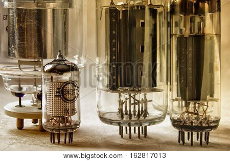 macro shot of old radio lamps in warm colors