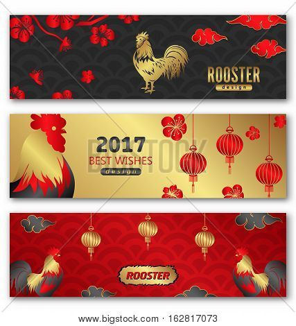 Illustration Collection Banners for Chinese New Year Roosters, Blossom Sakura Flowers, Lanterns. Templates for Design Greeting Cards, Invitations, Flyers etc. - Vector