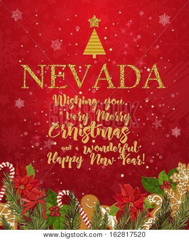 Nebraska Merry Christmas and a Happy New Year greeting vector card on red background with snowflakes.