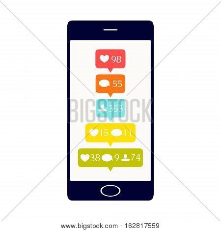 Like, comment and follower icons set. Social media buttons on smartphone display. Notification symbols. Isolated vector illustration.