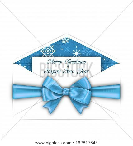 Illustration Envelope with Greeting Card and Blue Bow Ribbon for Merry Christmas. White Envelope Isolated on White Background - Vector