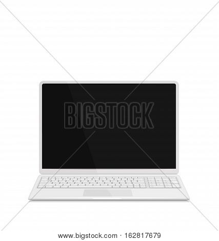Illustration realistic laptop notebook white milk color with keyboard, Isolated on White Background. Screen of Notebook Can Be Used with Custom Images - Vector