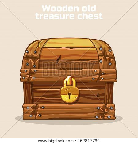 Closed Wooden old antique treasure chest, gold lock, game and UI elements