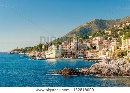 Panoramic view of Bogliasco small sea village near Genoa (northern Italy)