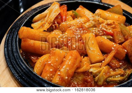 Tukbokki Korean hot and spicy rice cake. Korean food.