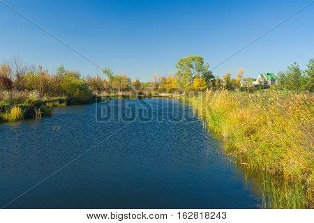 Small Ukrainian river Oril at fall season.