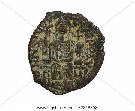 Ancient Copper Byzantine Copper Coin With Figure On It Isolated On White