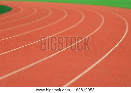 The carve running track in race course