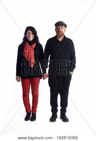 Portrait of couple of white background, hands