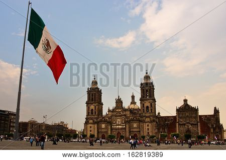 Big Mexican Flag On Zocalo Near Cathedral, Mexico City