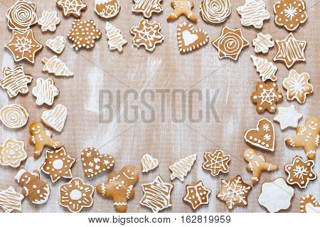 Cookies On Plywood Background With Copyspace In The Center
