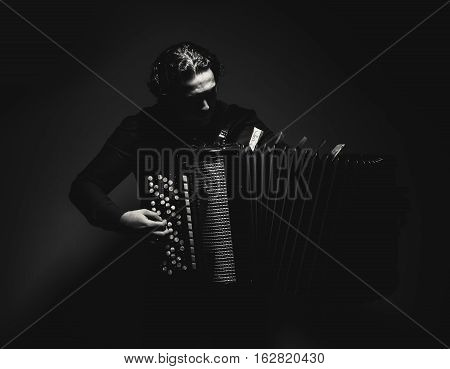 Accordion Player In Black And White