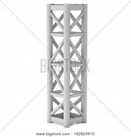 Steel truss girder element. 3d render isolated on white