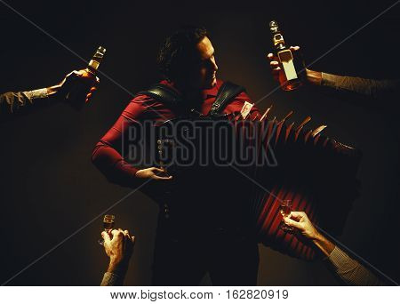 Chromatic Accordion Player And Spirit Drinks
