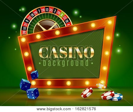 Casino entertainment decorative frame background poster with festive lights roulette wheel dice and chips vector illustration