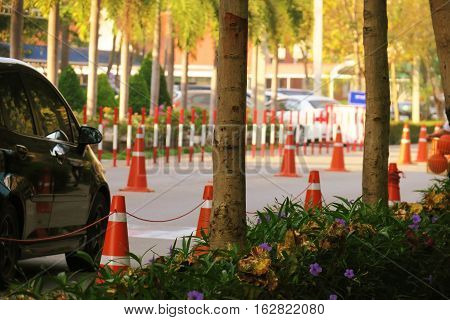 Traffic cones on road. Outdoor traffic cones on street