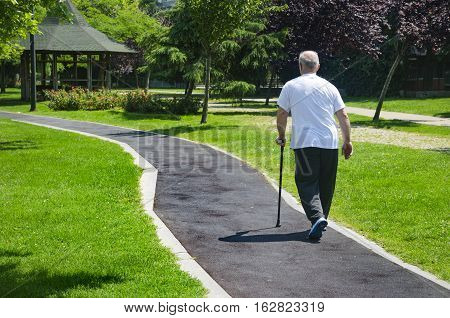 Istanbul Turkey - June 4 2016 An old man walking in a park on a sunny day with cane