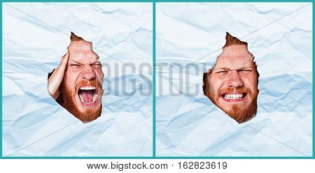 Young man looking through paper rip on white paper background
