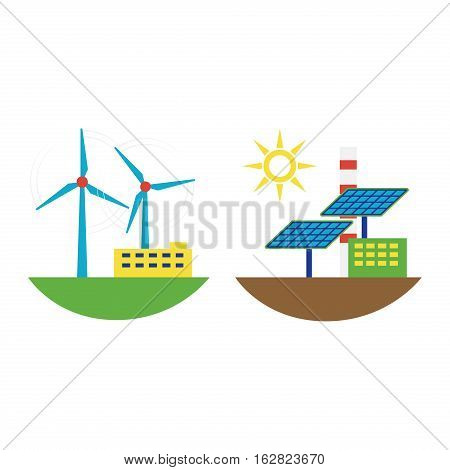 Power alternative energy and eco wind station technology. Renewable nature environmental industry. Source electricity conservation set vector illustration.