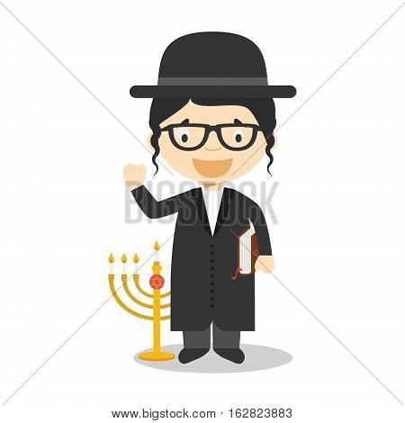 Jewish Rabbi cartoon character from Israel dressed in the traditional way. Vector Illustration. Kids of the World Collection.