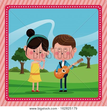 girl boy sing song guitar love rural landscape vector illustration eps 10