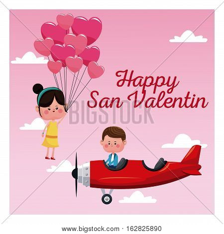 happy san valentine card boy plane and girl flying balloons vector illustration eps 10