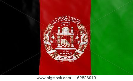 Afghanistan flag ruffled, flowing, illustration, picture, image. Part of a set