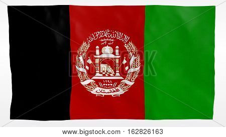Afghanistan flag flowing in the wind, illistration, detaild texture over white background. Part of a set