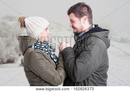 Romantic Male Holding His Girlfriend Hands