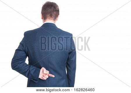 Back View Of Business Man Showing Obscene Gesture
