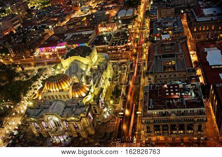 Top View Of Mexico-city At Night, Bellas Artes