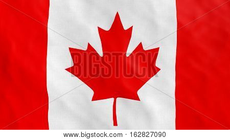 Canadian flag blowing in the wind, detailed texture close up, flag of canada. Part of a set