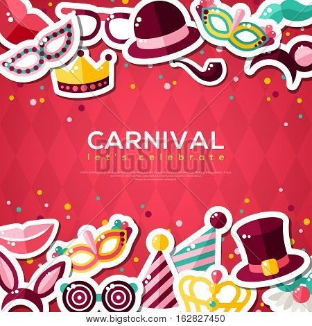 Carnival Banner With Flat Sticker Icons Set. Vector illustration. Masquerade Concept. Horizontal Borders with Masks, Clown Cap, Smiling Lips, Princess Crown on Red Background.