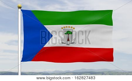 Equatorial Guinea flag waving against blue sky and clouds, close up, isolated with textured flag and flagpole