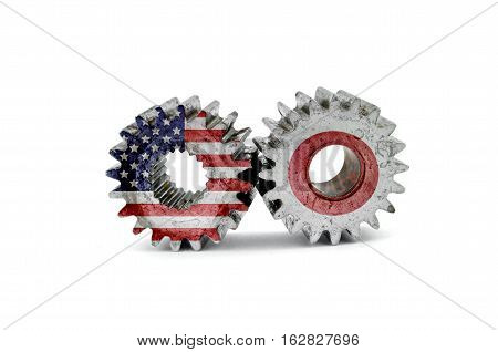 Cog gears mechanism closeup.Concept business driven of the America and Japan.