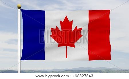 French Canadian conceptual flag on flowing in the wind on a flagpole over blue sky and couds, textured details