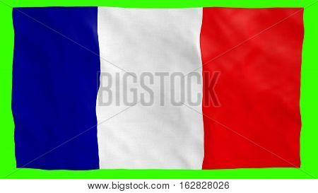 French Flag flowing on green screen. Part of a set