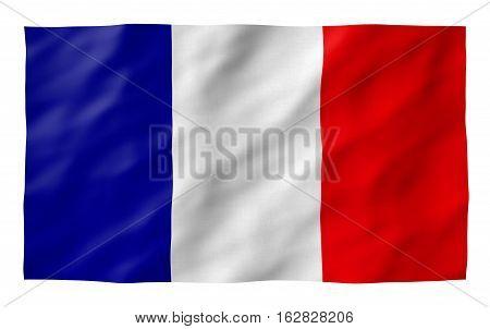 French flag Detailed, TEXTURED on white bakcground. Part of a set