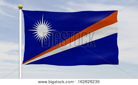 Marshall Islands flag waving against blue sky with clouds, close up, isolated with flag pole