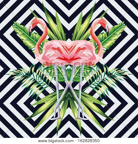 Beautiful bird pink flamingo with tropical banana leaves in mirror image style on geometric background. Vector jungle floral wallpaper
