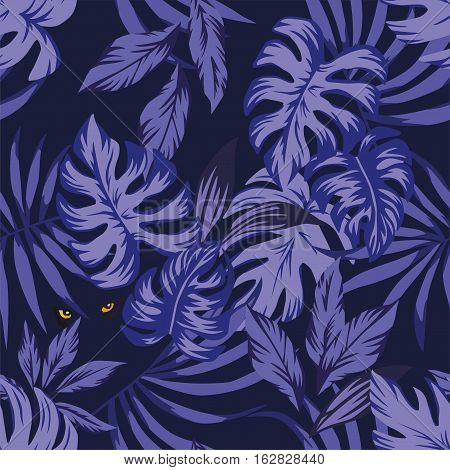 Nightlife jungle tropical leaves seamless pattern with eyes panther in the night sky