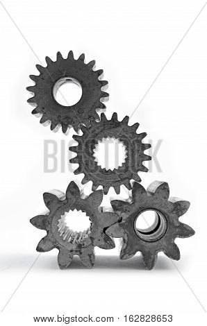 Cog gears mechanism closeup.Engineering concept isolated in white background.