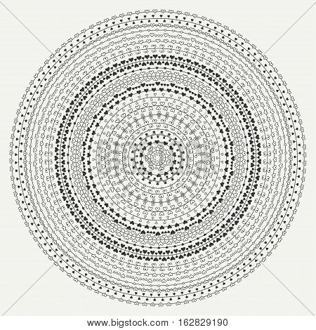 Hand drawn mandala ornament. Geometric pattern. Line border frame design element. Doodles. Vector illustration. Background. Valentine day vintage romantic pattern with hearts. Henna tattoo. Circle