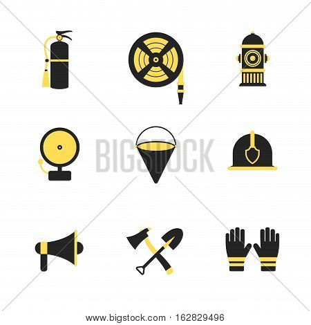 Fire fighter and emergency rescue icons set vector illustration for mobile web and applications