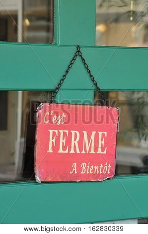 Saint Germain en Laye France - may 2 2016 : closed sign on a shop